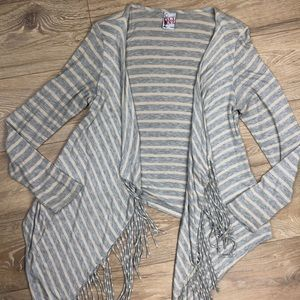 Lucy Love grey beige striped fringe cardigan small